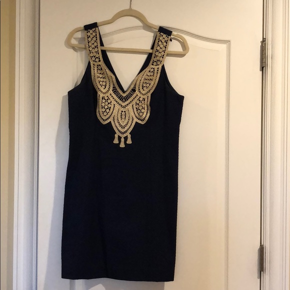 Navy and gold Lilly Pulitzer dress